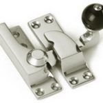 Straight Arm Fastener 74 mm with Black Knob – Polished Brass Lacquered