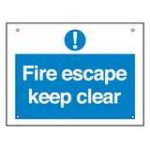 Fire Escape Keep Clear (Small) – Plastic