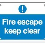 Fire Escape Keep Clear (Large) – Plastic